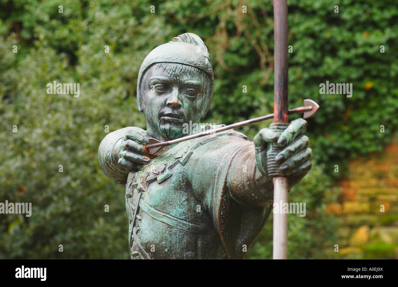 Statue of Robin Hood in Nottingham UK - Stock Image