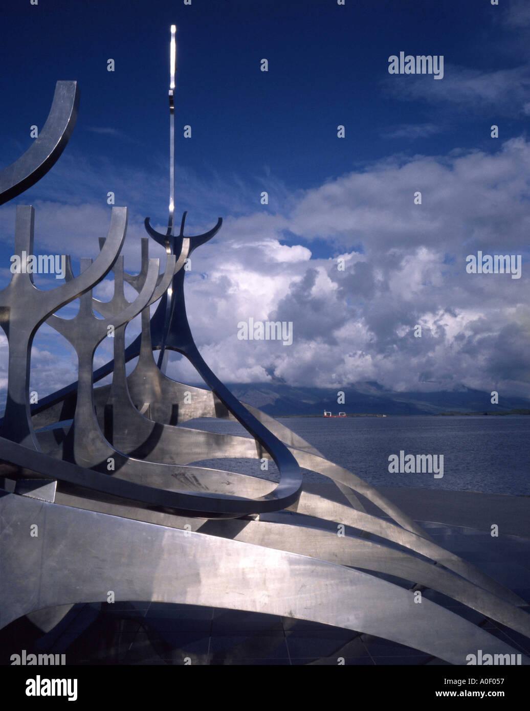 Viking longship sculpture by seafront Reykjavik, Iceland - Stock Image