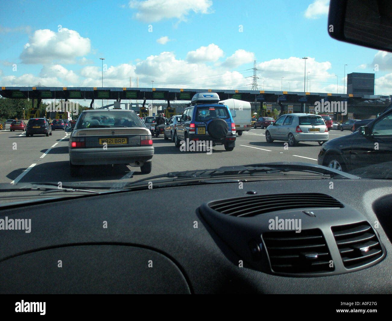 Queues for toll booths at Dartford tunnel - Stock Image