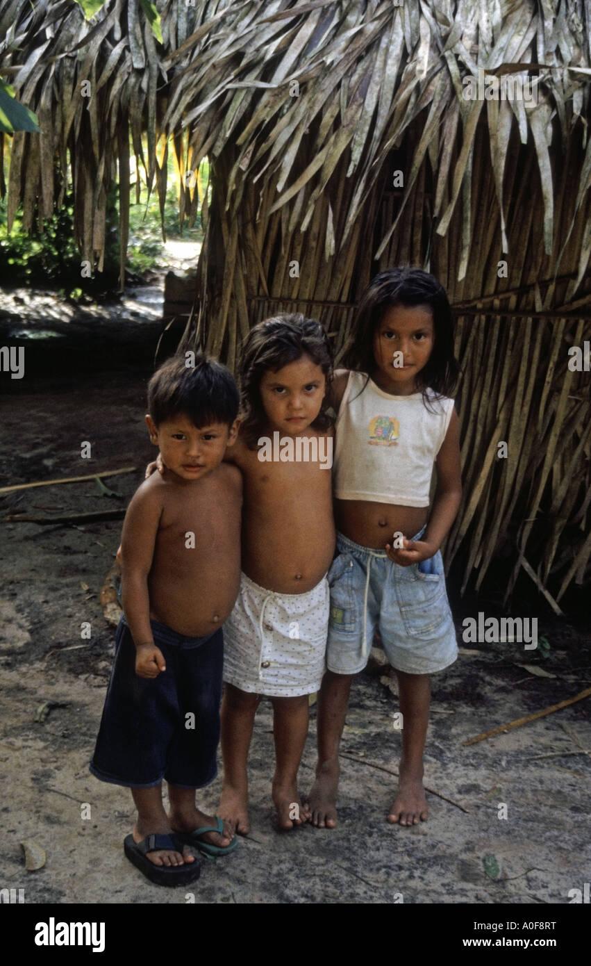 Three tribal children in an Amazon rainforest village ...