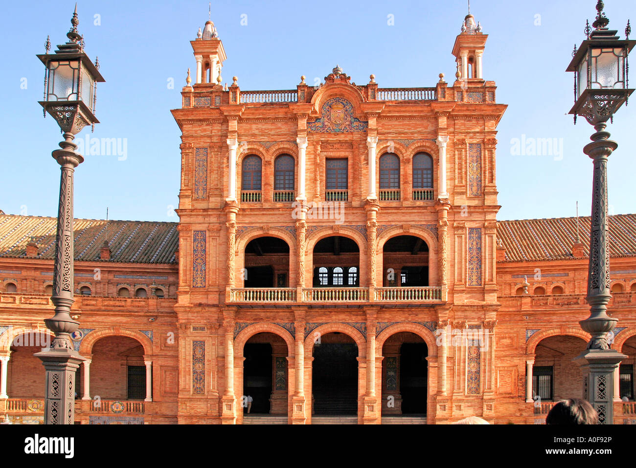 One of the Buildings at Plaza de Espagna Seville Andalucia Spain - Stock Image