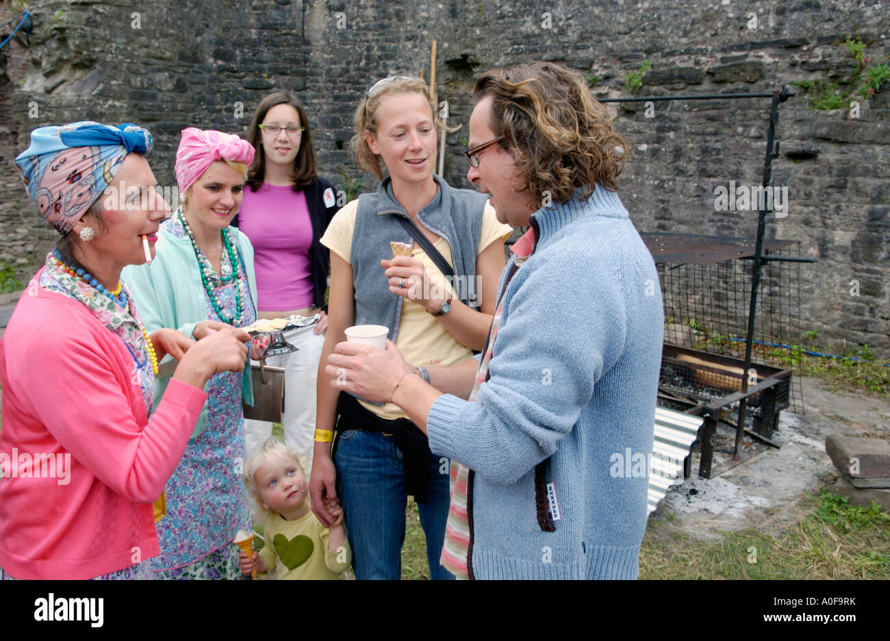 Hugh Fearnley Whittingstall at the annual Abergavenny Food Festival Wales UK GB with performance group the TEA LADIES - Stock Image