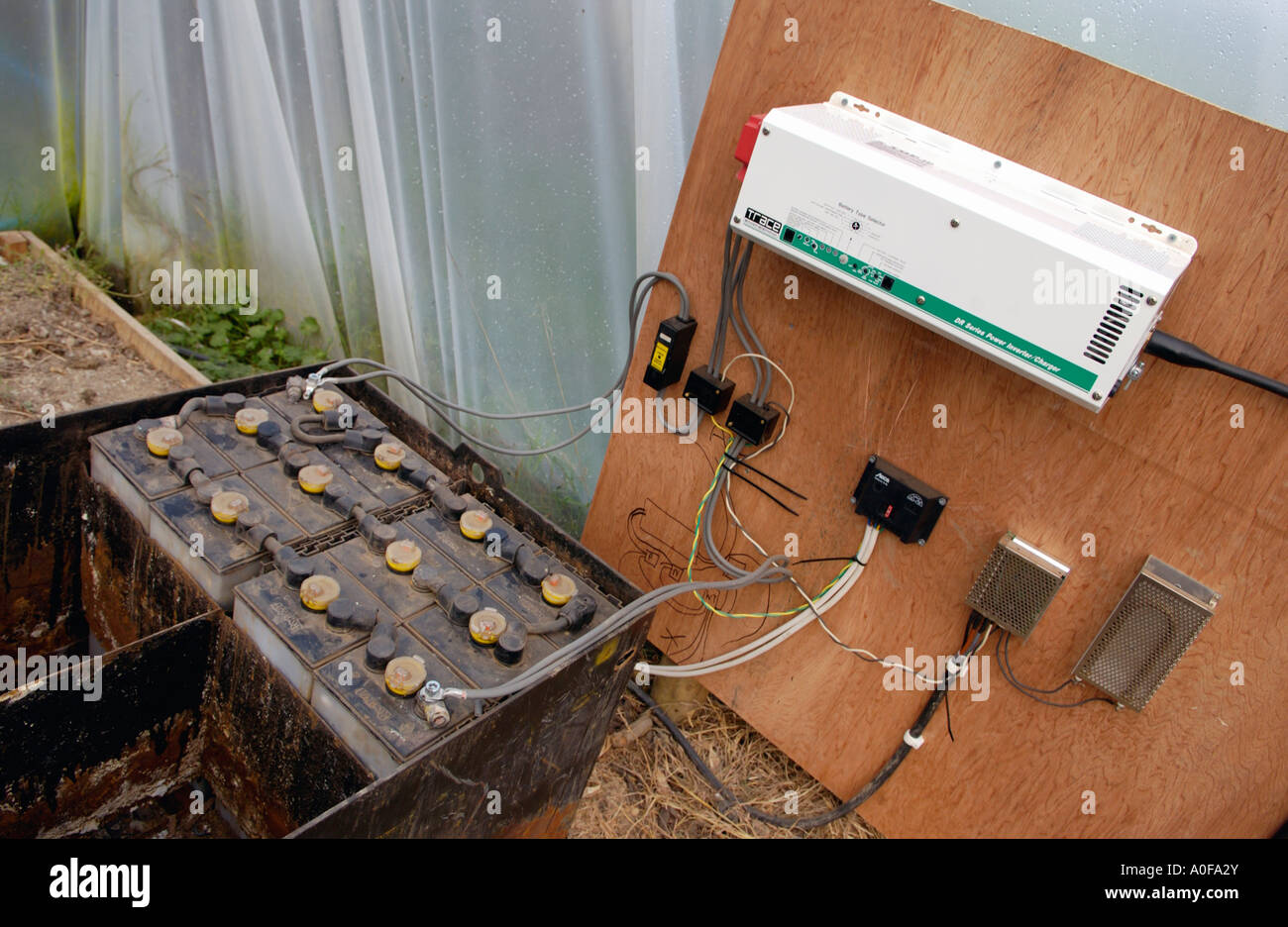 Solar Inverter Stock Photos Images Alamy Home Power Supply Portable Made System Using For Producing Electricity On Organic Hill Farm Uk Battery And