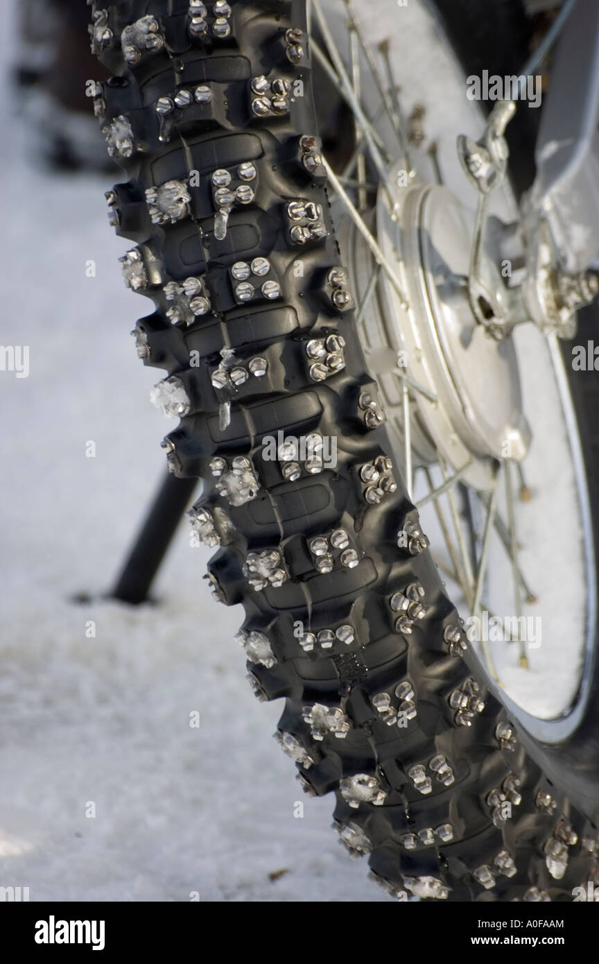 Portrait Picture Of A Studded Motorcycle Tire Used For Racing On Ice