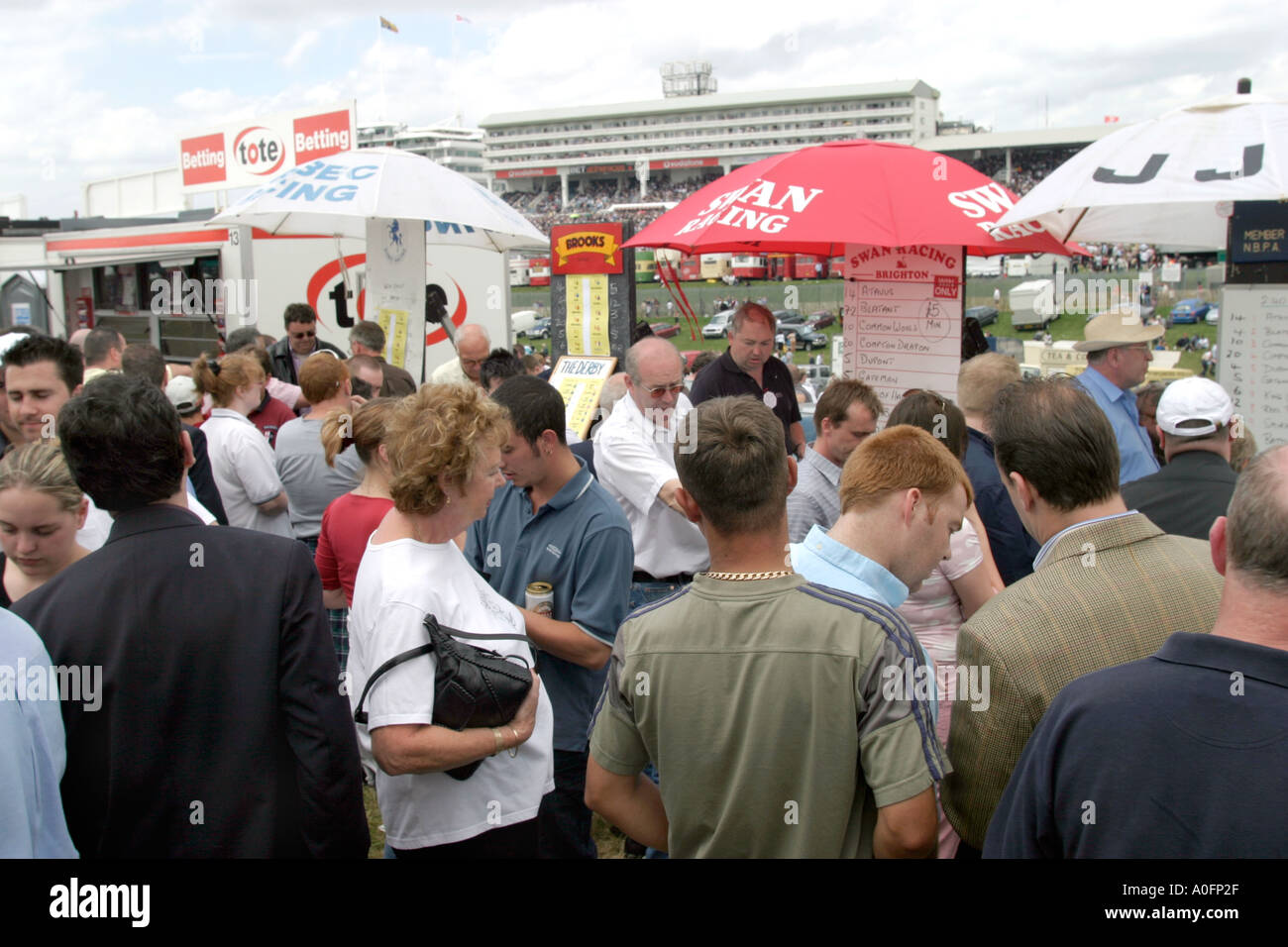 Bookies taking bets on the outcome of THE DERBY Epsom Downs UK Stock Photo