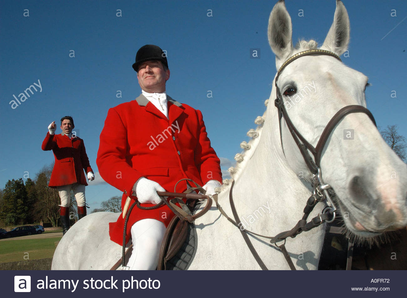 Cheshire Forest Hunt meeting in a show of defiance two days after fox hunting with dogs was banned in England 19 February 2005 - Stock Image