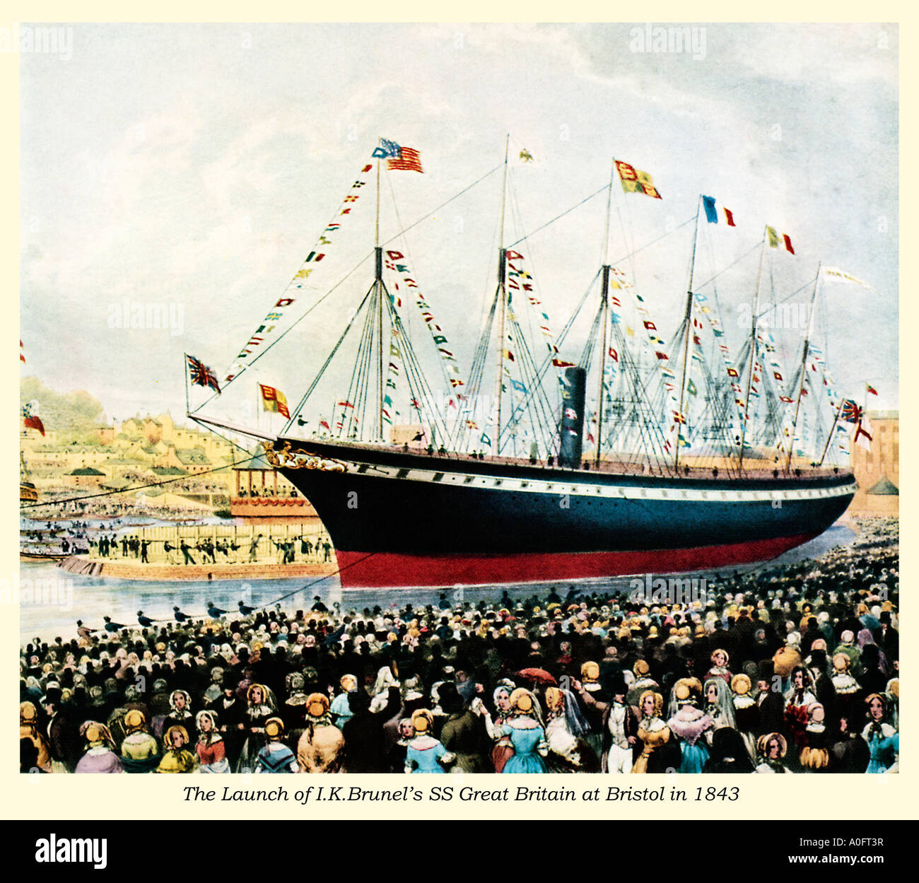 Launch of the SS Great Britain the revolutionary ship of the great engineer Isambard Kingdom Brunel at Bristol in 1843 - Stock Image