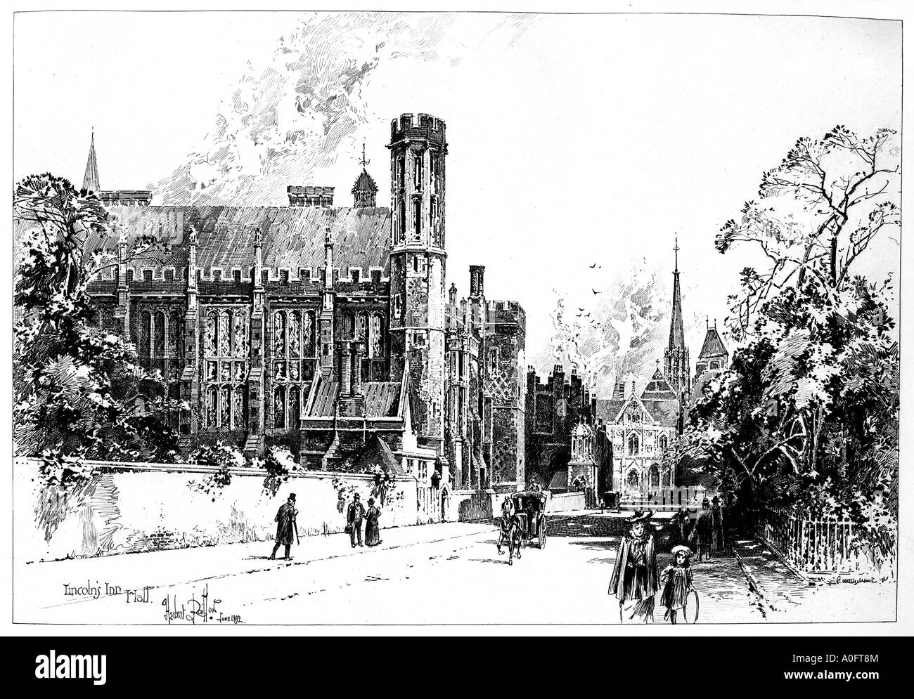 Lincolns Inn Hall 1892 Late Victorian engraving by Herbert Railton of the Hall in the London home for barristers - Stock Image