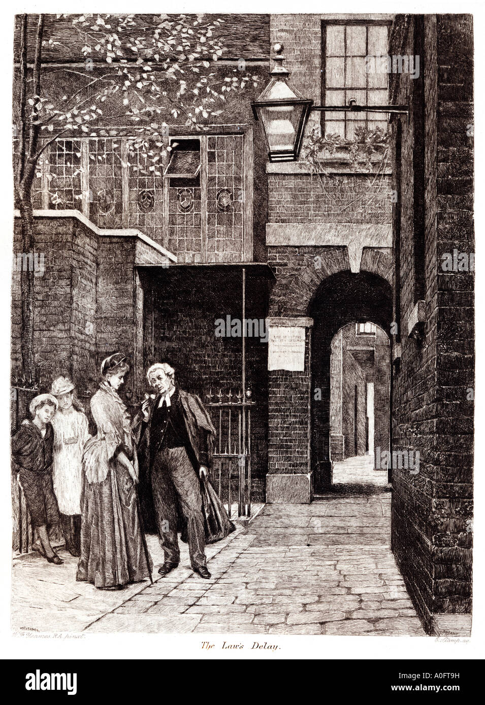 The Laws Delay Late Victorian engraving by WF Yeames of a barrister in a London street held up by a lady - Stock Image