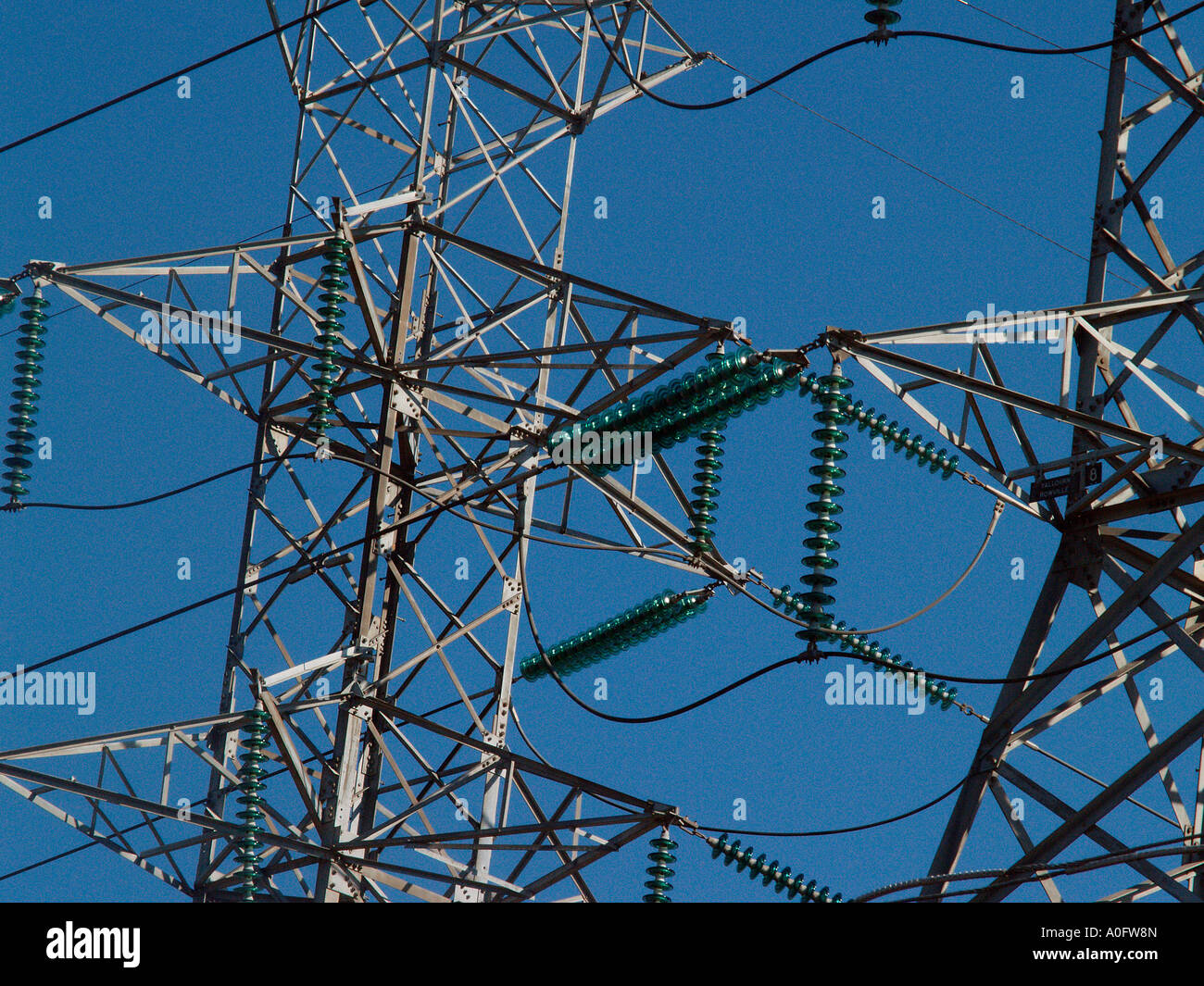 High Tension Power Transmission Towers Stock Photo Alamy