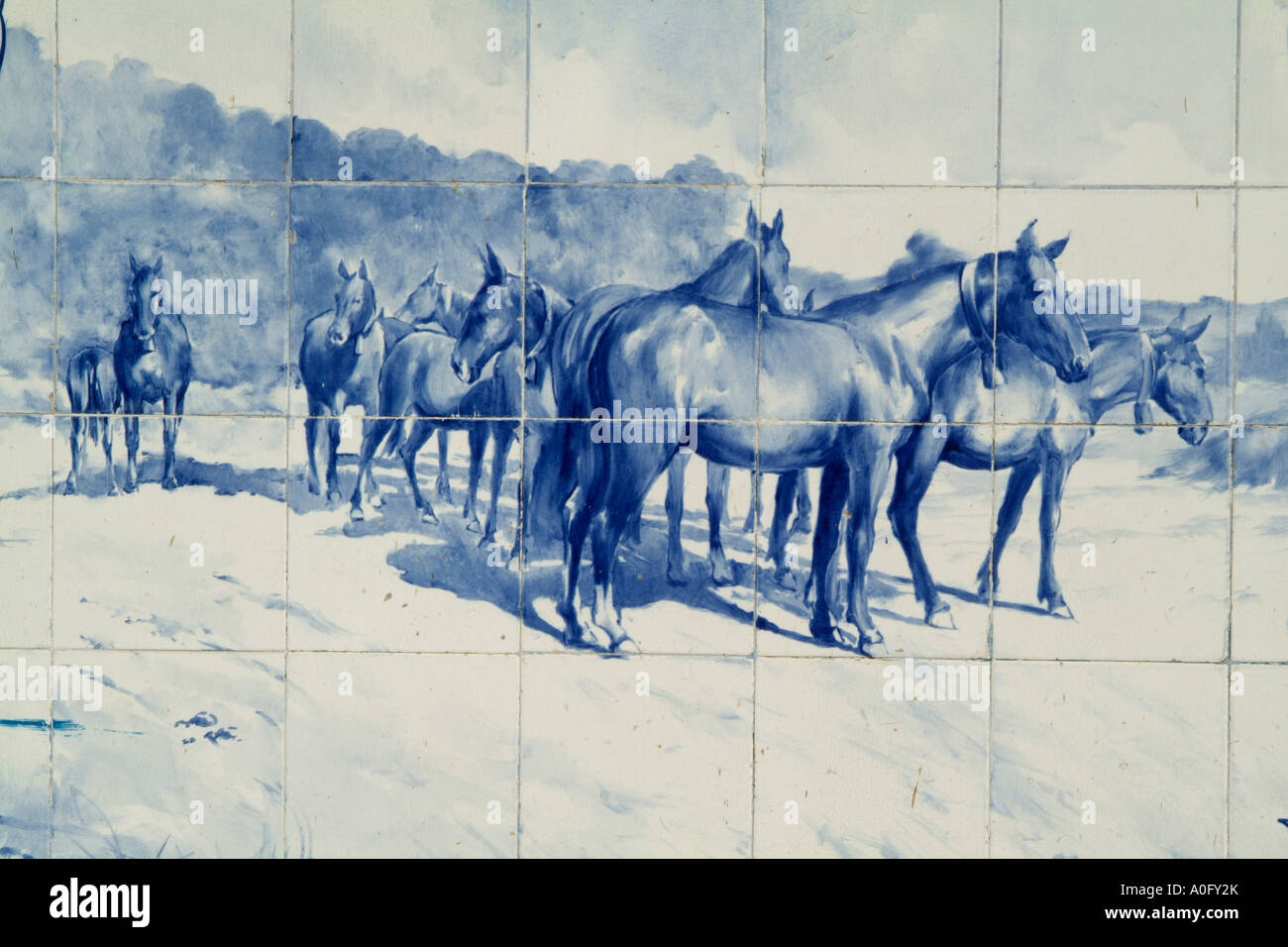 Tiled Mural in the Municipal Market of Santarem showing Lusitano horses - Stock Image