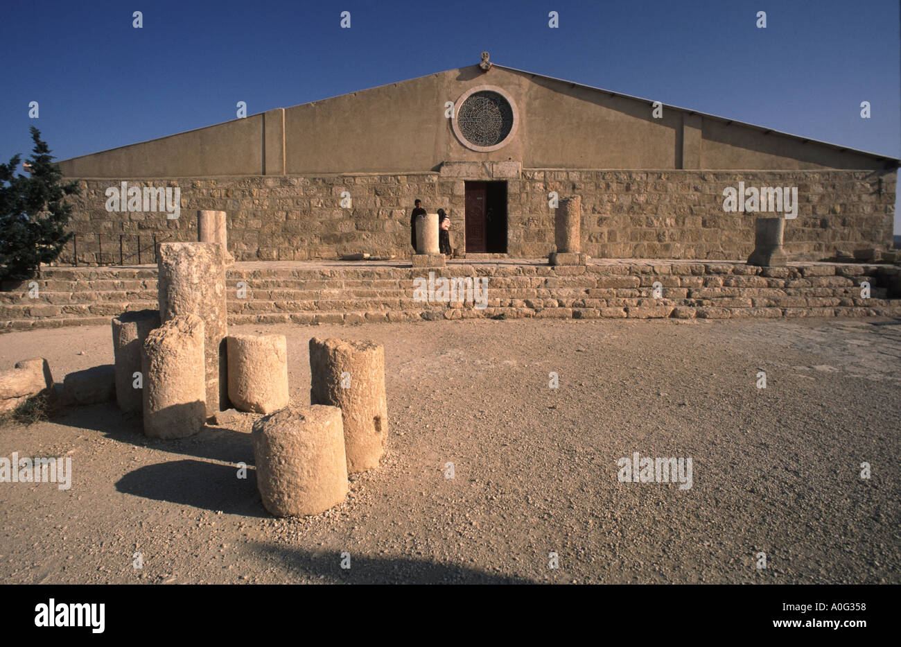 Church built on the site said to be burial place of bibllical Moses on Mount Nebo in Jordan near the town of Madaba Stock Photo