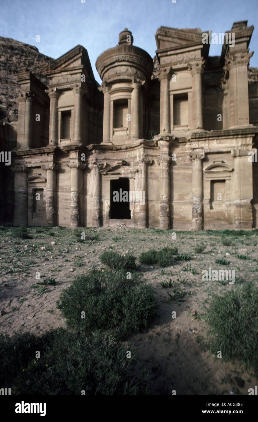 Wide view of the monument known as the Al Dier or Monastery in the ancient rose red city of Petra in Jordan Stock Photo