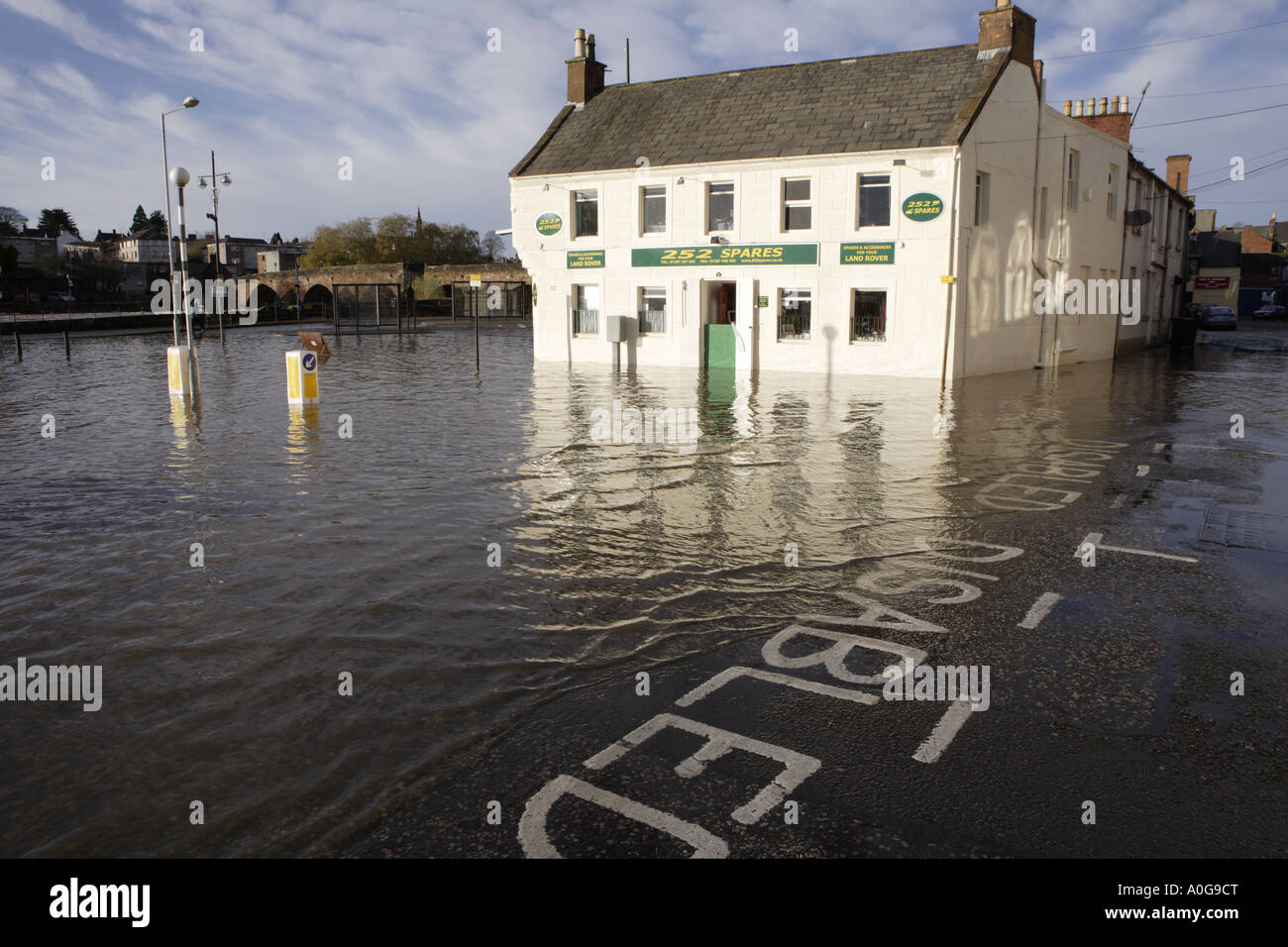 flooded winter flood business underwater river nith bursting its