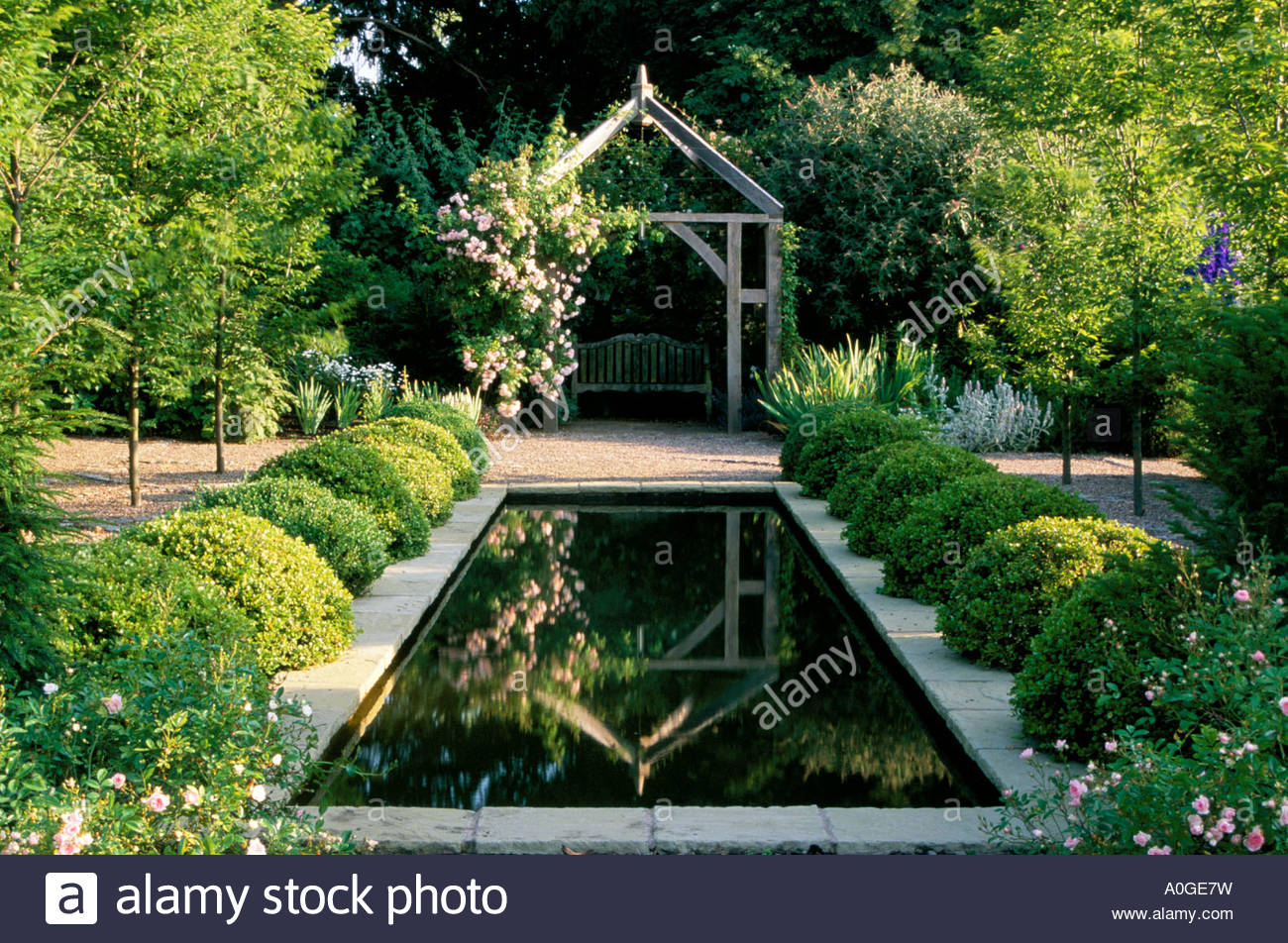 Wollerton Old Hall Shropshire Formal Rectangular Reflective Pond In Sunken  Garden View Through To Rose Arbor