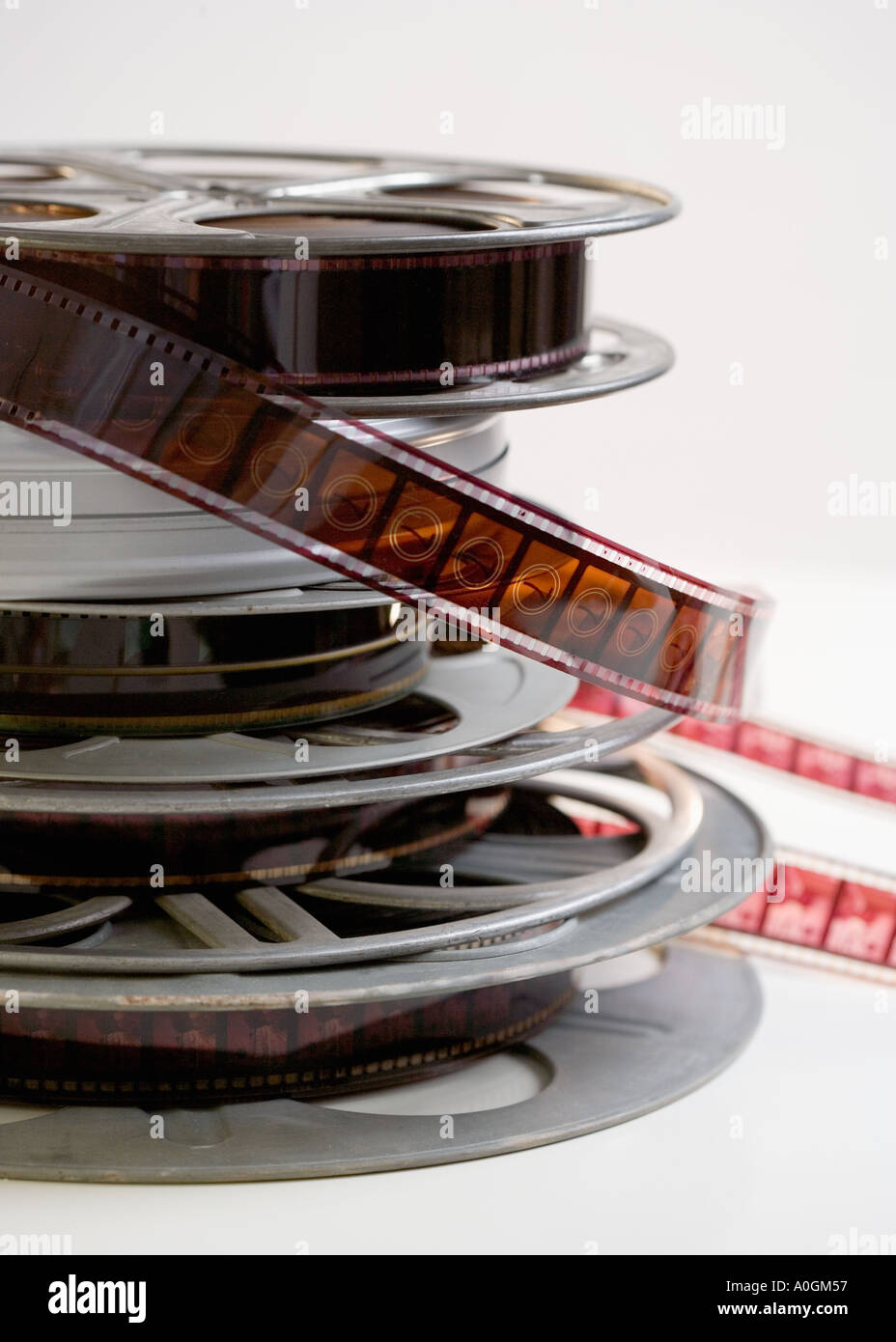 Stack of movie film reels - Stock Image