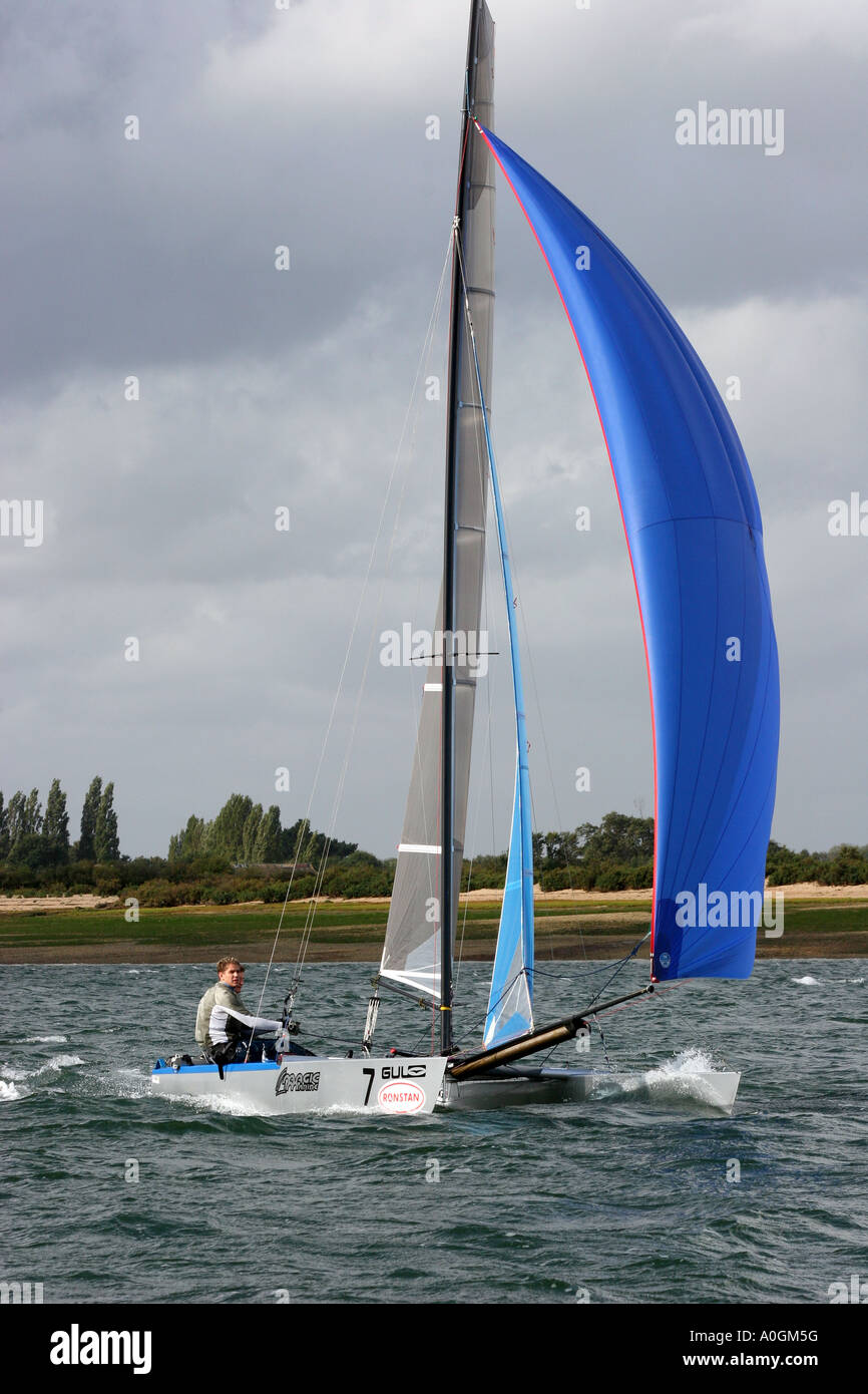 Catamaran twin hull big cat sail number GBR 424 - Stock Image