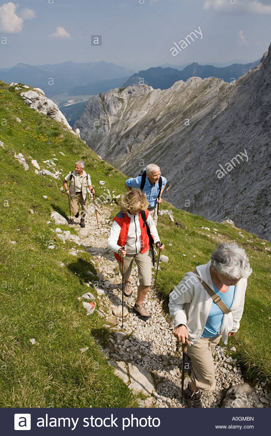Seniors hiking - Stock Image
