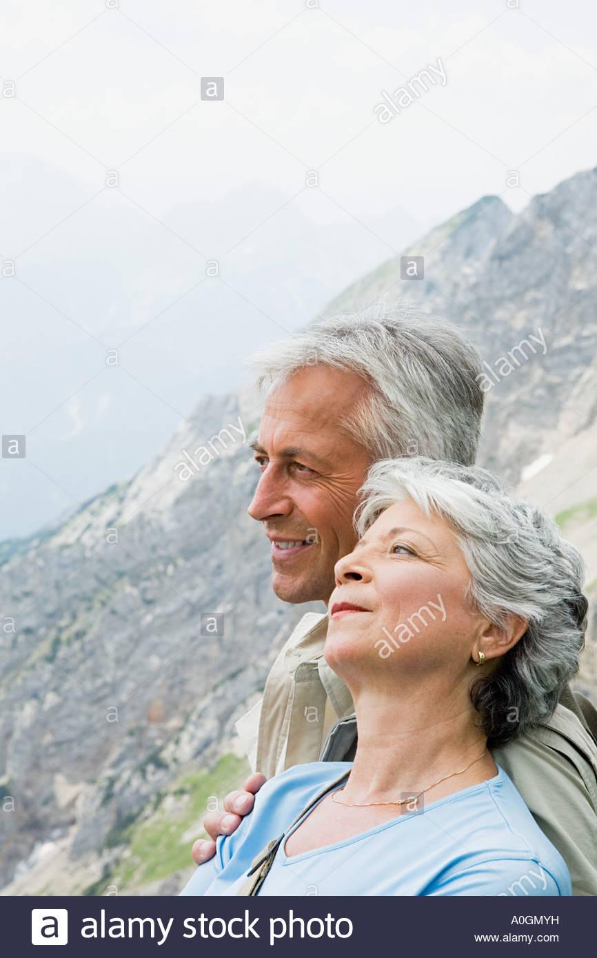 Senior couple on mountain - Stock Image