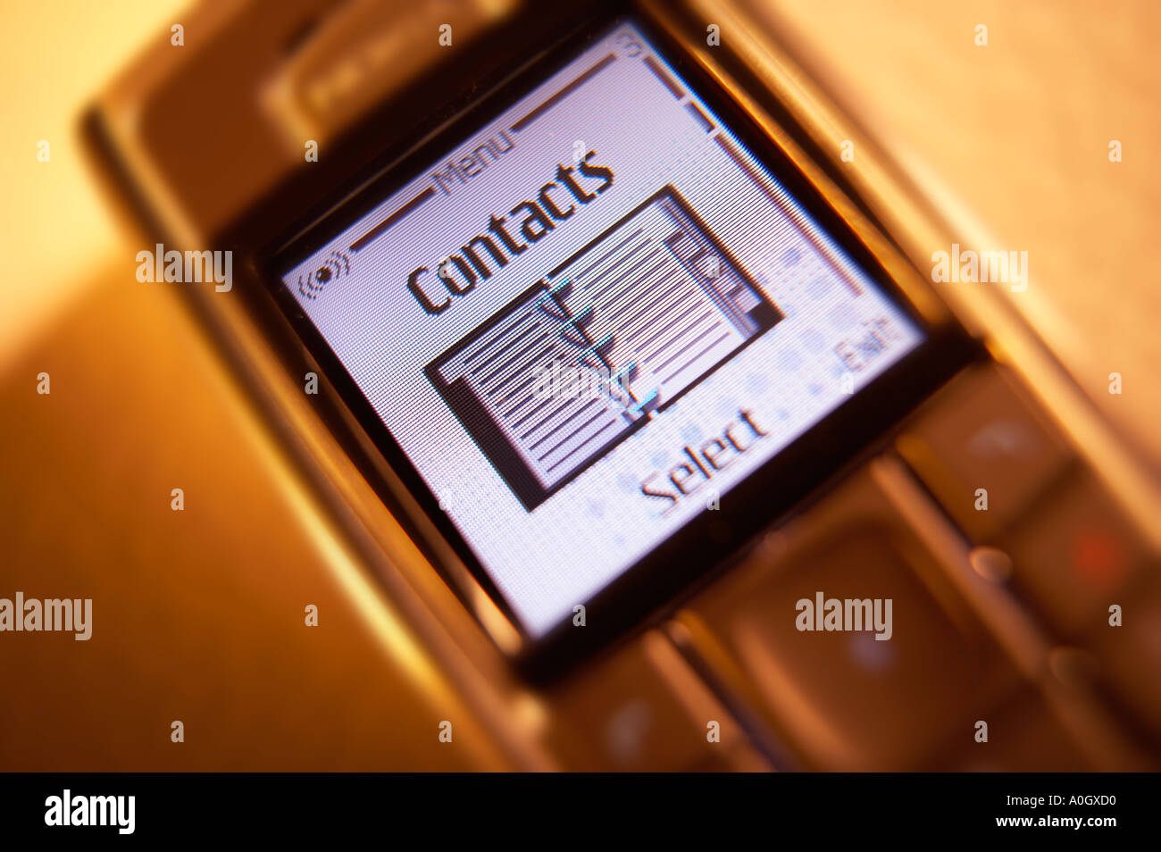 CONTACTS MENU TEXT ON MOBILE PHONE SCREEN - Stock Image