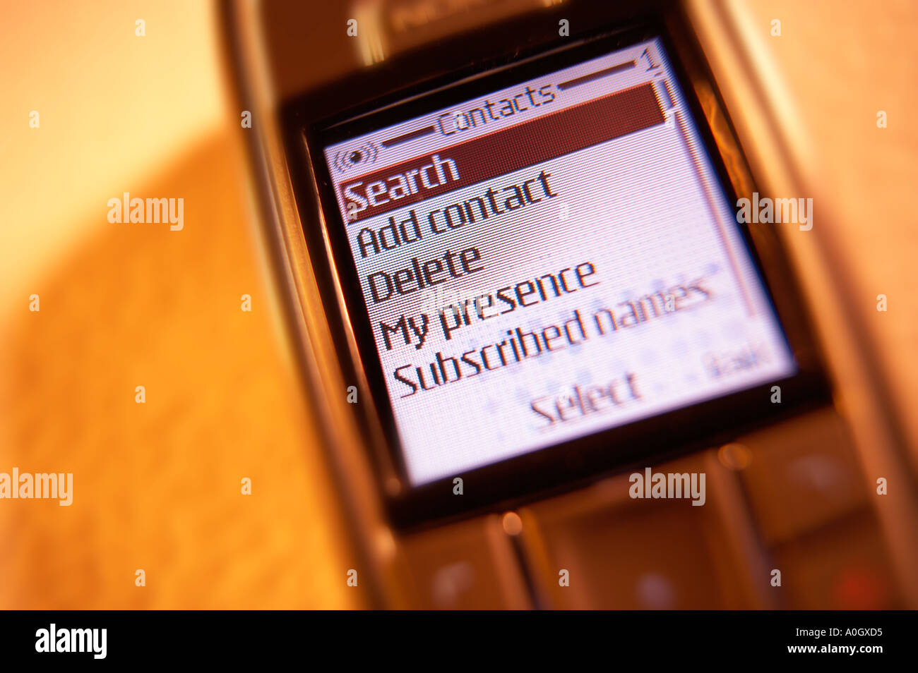 SEARCH CONTACTS MENU ON MOBILE PHONE SCREEN - Stock Image