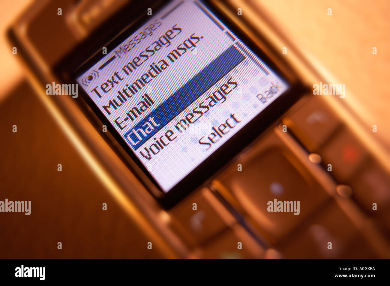 CHAT MENU TEXT ON MOBILE PHONE SCREEN Stock Photo