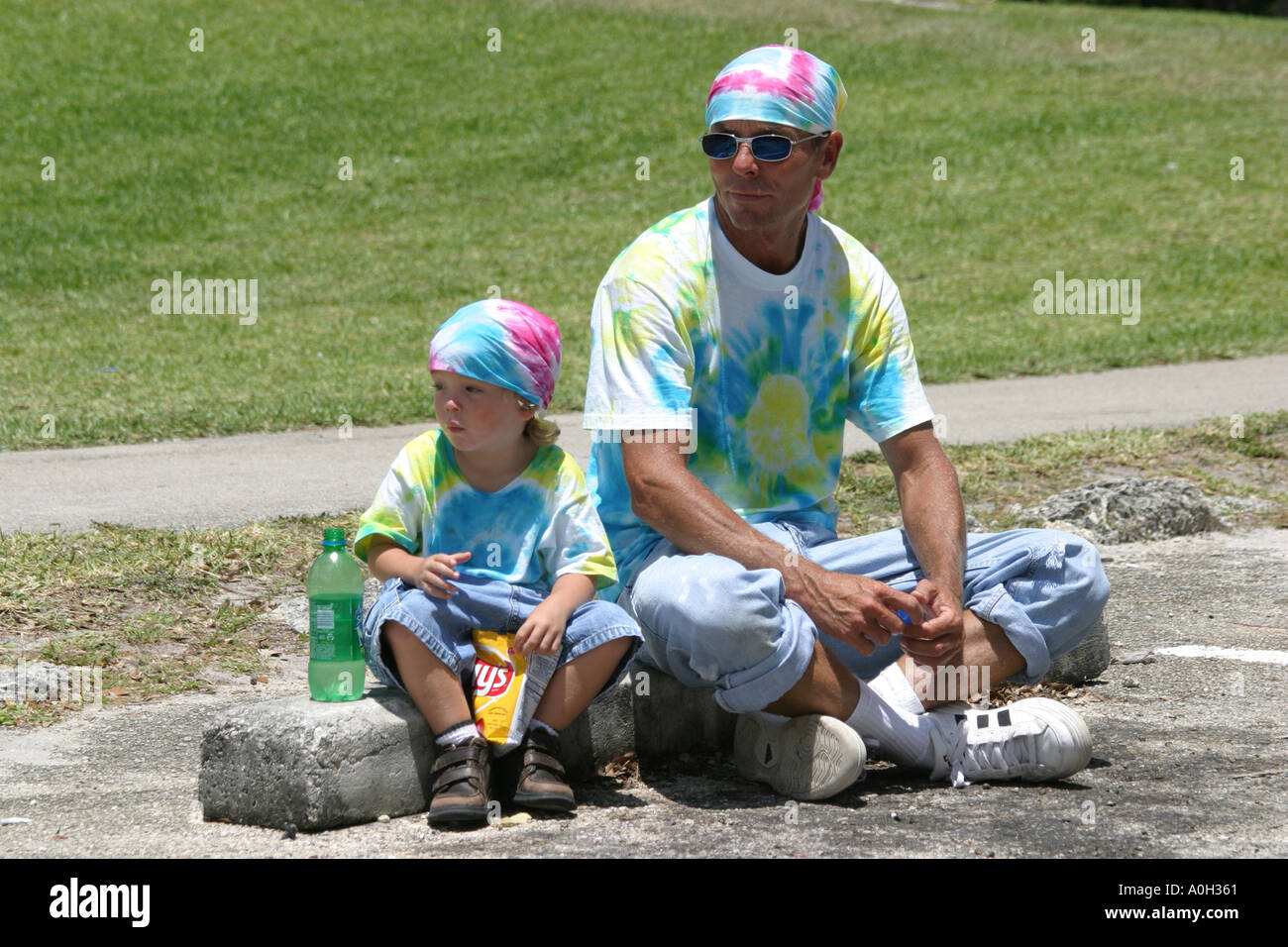 75c508d5 North Miami Beach Florida Greynolds Park Love In father son hippie style  matching tie dye clothing