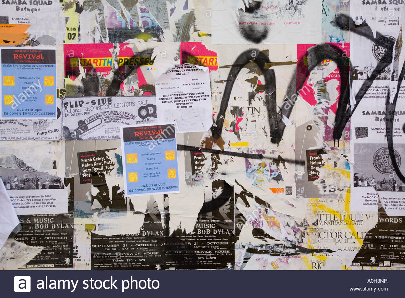 Playbills in the Art Design District of West Queen West an area being renewed by artists in Toronto Ontario Canada - Stock Image
