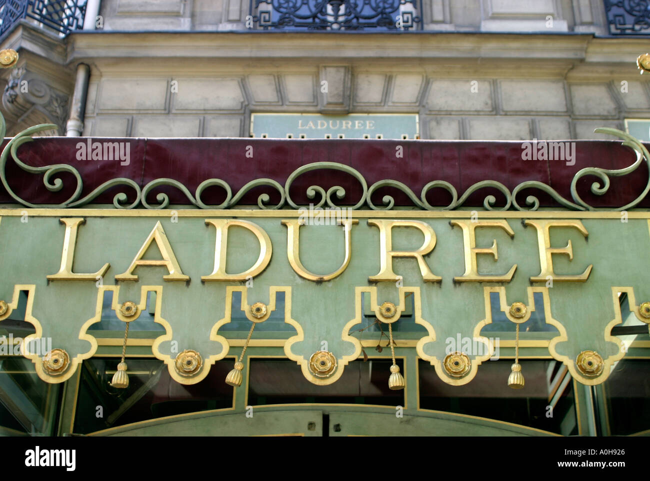 Laduree high class tearoom and patisserie in the Champs Elysees Paris France - Stock Image