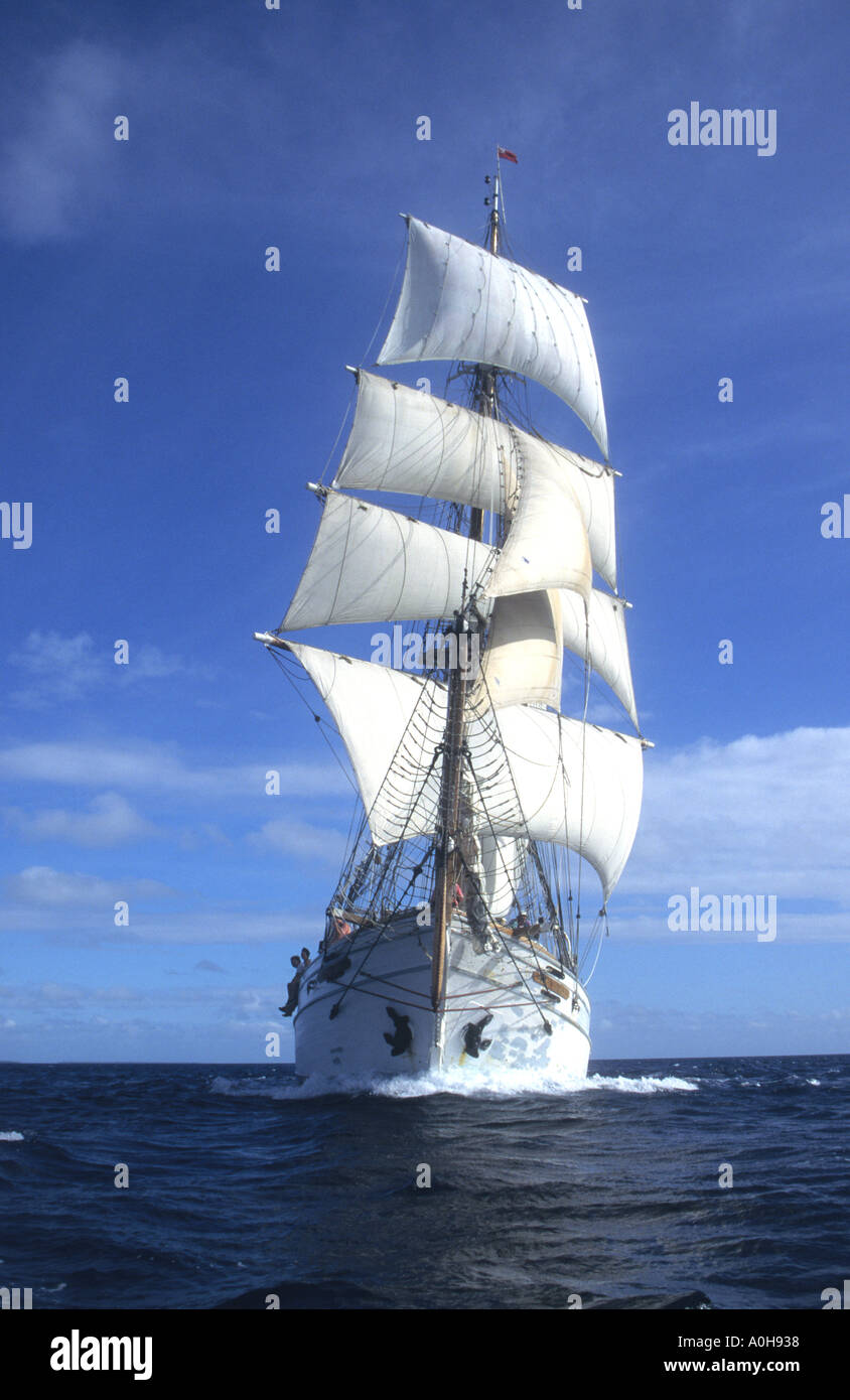 Brigantine square rigged sailing ship in full sail in the South Pacific - Stock Image