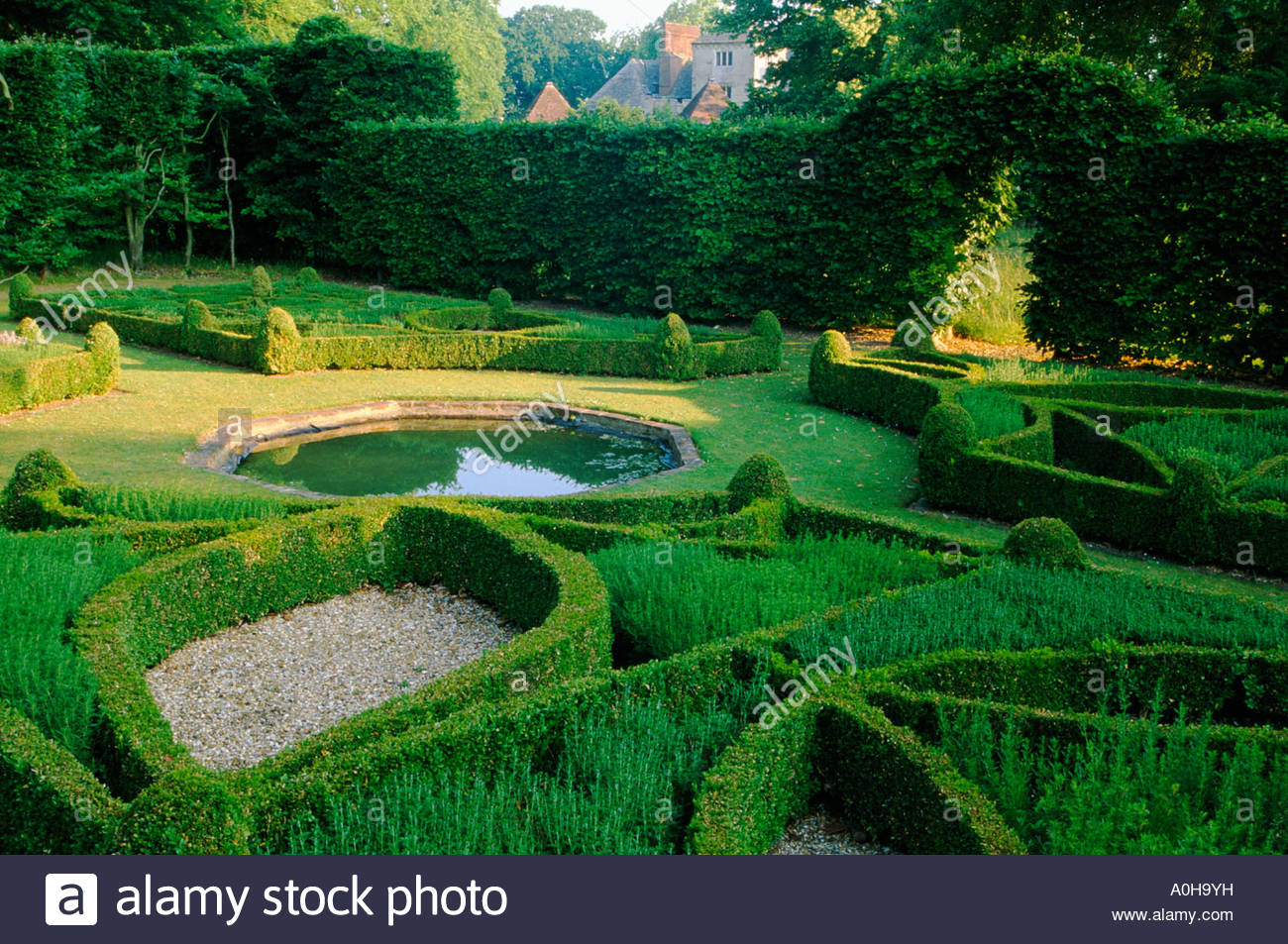 Cranbourne Manor Dorset The Green Garden Enclosed Knot garden with low boxwood hedging and formal octagonal pond Beech hedge - Stock Image