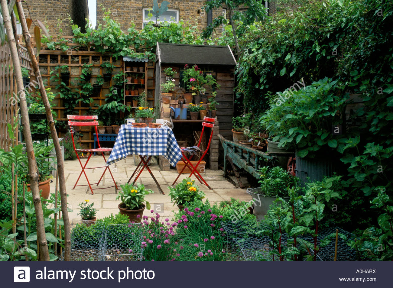 small town garden patio stock image - Patio Town