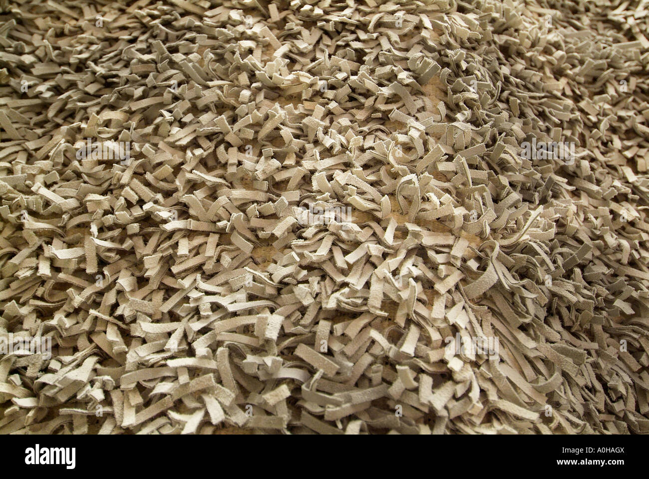 Chunky shag texture tan buff brown thick pile Carpet rug Fabric wool cotton weave woven warp weft weave local alternative - Stock Image