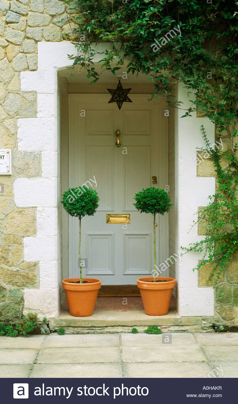 Front Door With Boxwood Standard Clipped Topiary In Pots Stock Photo