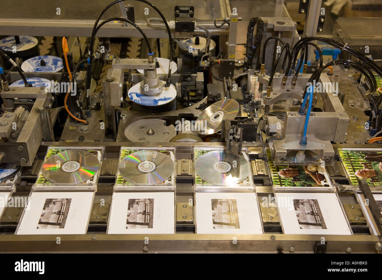 Automated CD packing system - Stock Image
