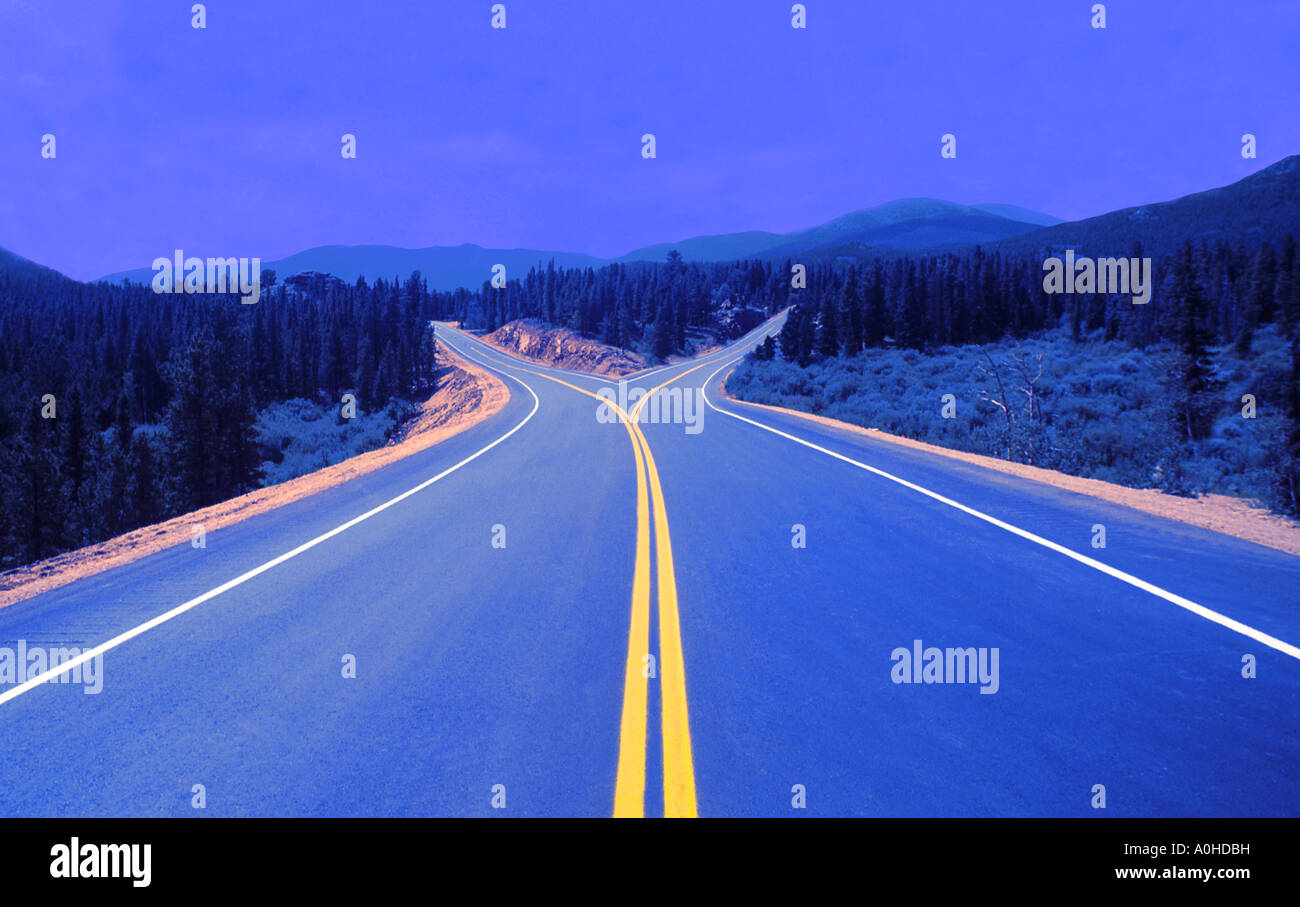 USA Western Landscape of Forked Highway Decisions Choices Open Spaces Opportunities Winding Road - Stock Image
