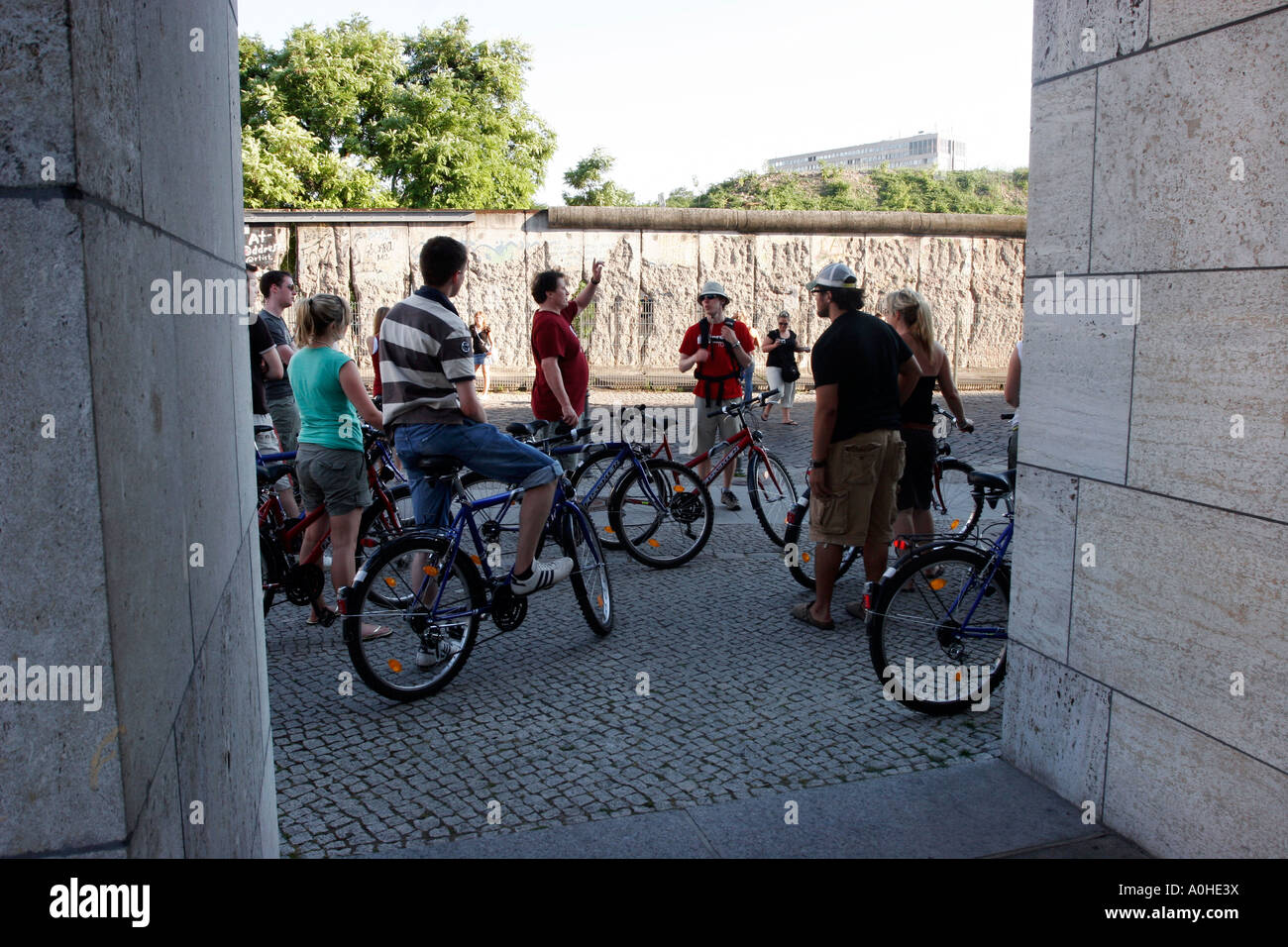 Germany East Berlin Bicycle tour of the city visting Berlin wall Stock Photo