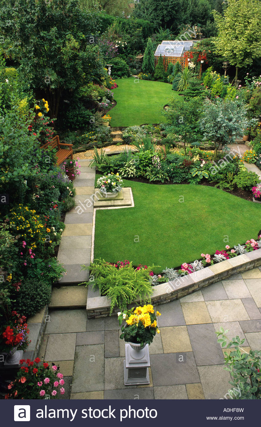 Delightful Private Garden Wolverhampton Lawns Path Patio Glass House On Sloping Site  Bedding Plants