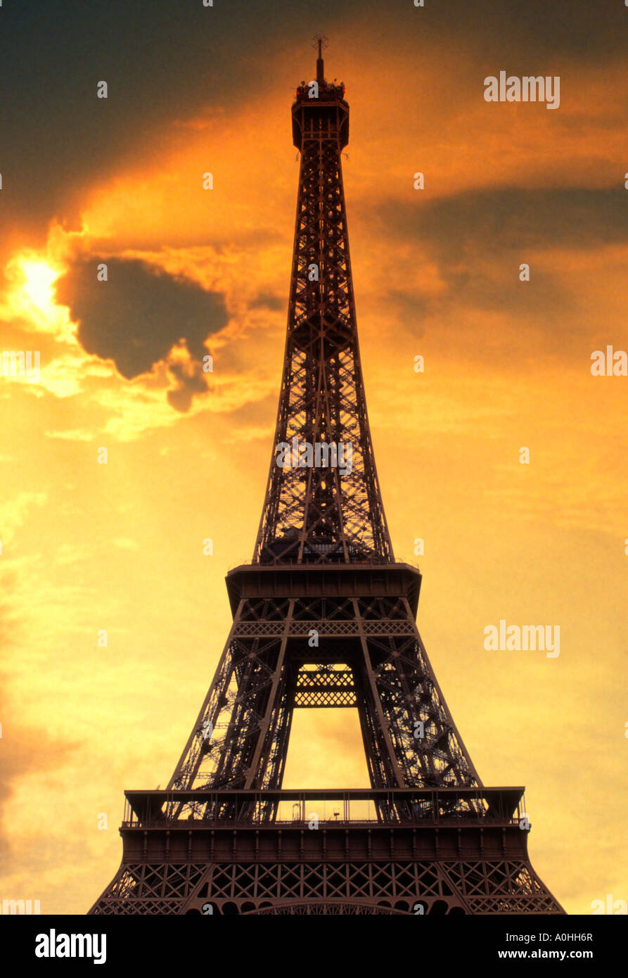 Paris Eiffel Tower at Sunset Dramatic Sky Europe France Sandra Baker - Stock Image