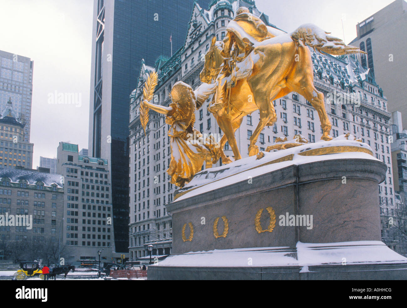 Plaza Hotel Grand Army Plaza in a Snowstorm New York City Midtown Manhattan Fifth Avenue NYC USA - Stock Image