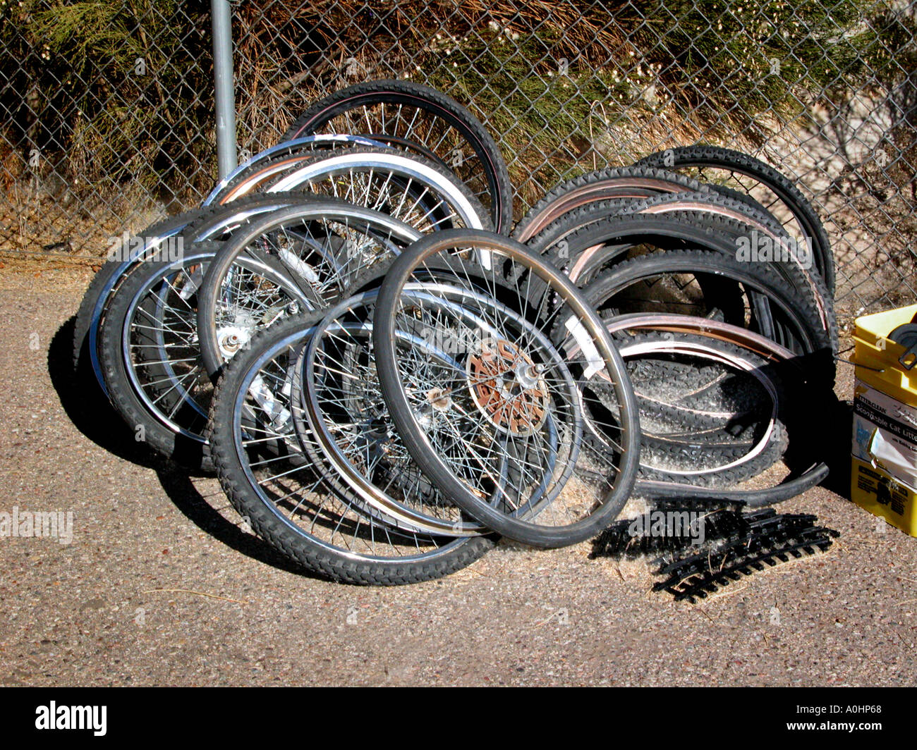 Used Wheels For Sale >> Used Bike Tires And Wheels For Sale Stock Photo 3265127 Alamy