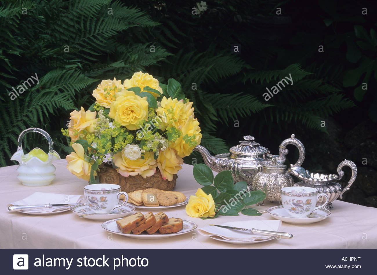 Cut roses in vase on dining table set for tea outside - Stock Image