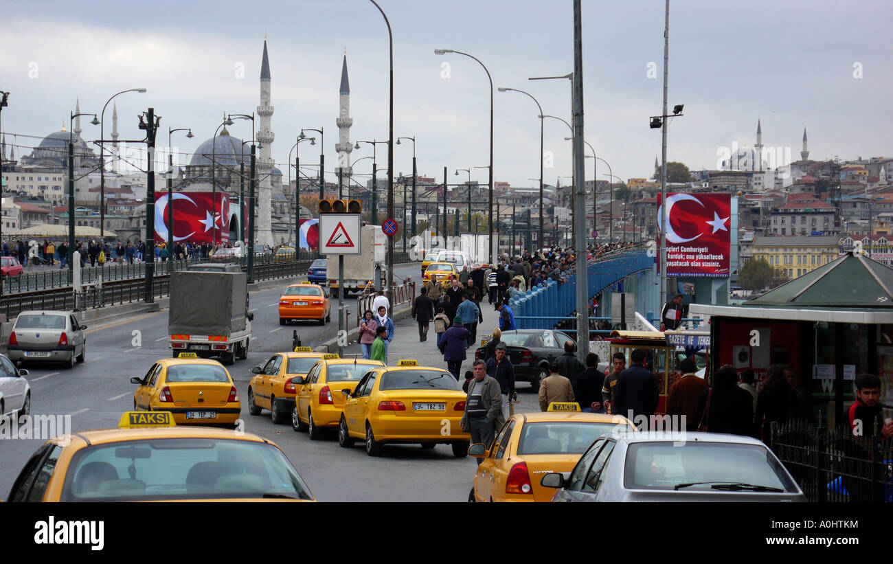 turkey country istanbul city center street scene traffic stock photo