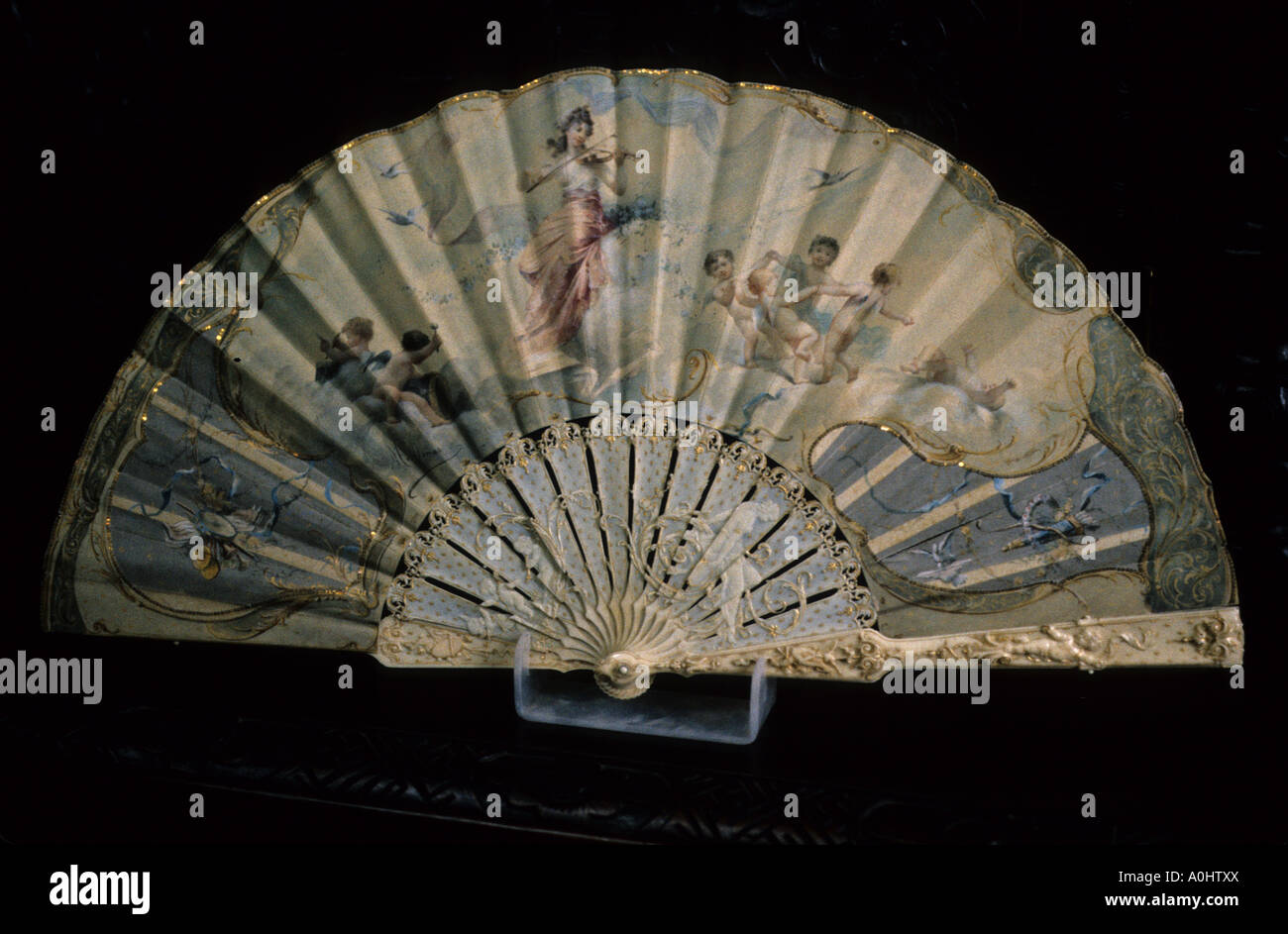 french fan painted ivory work nineteenth century artwork - Stock Image