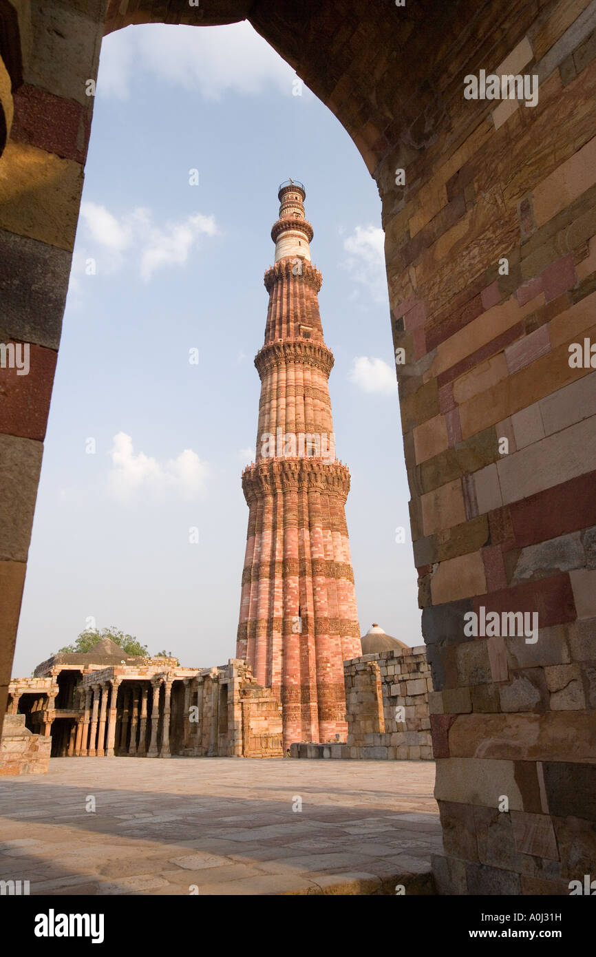 The Qutb Minar built in 1193 in the Mehrauli Archaeological Park in Delhi in India - Stock Image