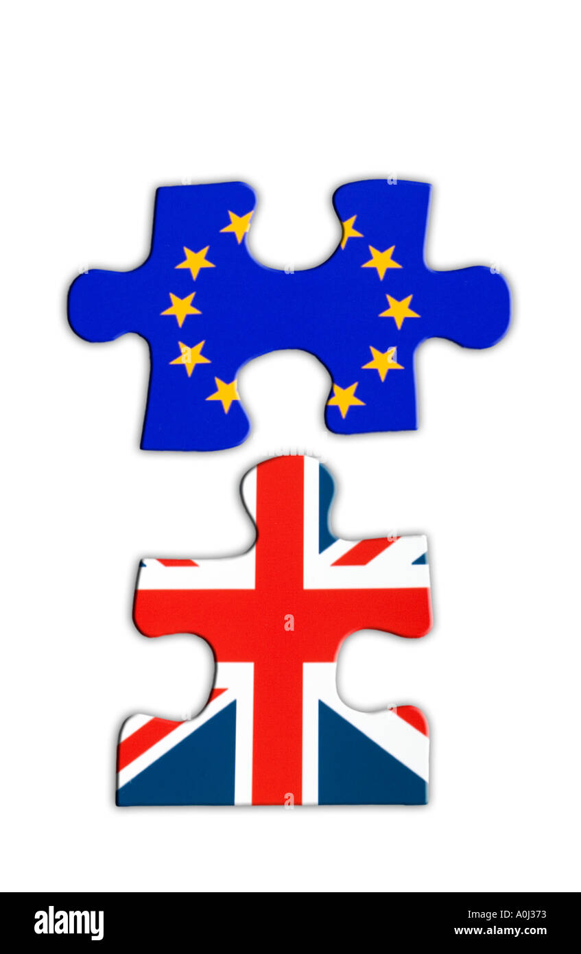 Jigsaw of the European flag and the Union Jack Flag, Brexit concept - Stock Image