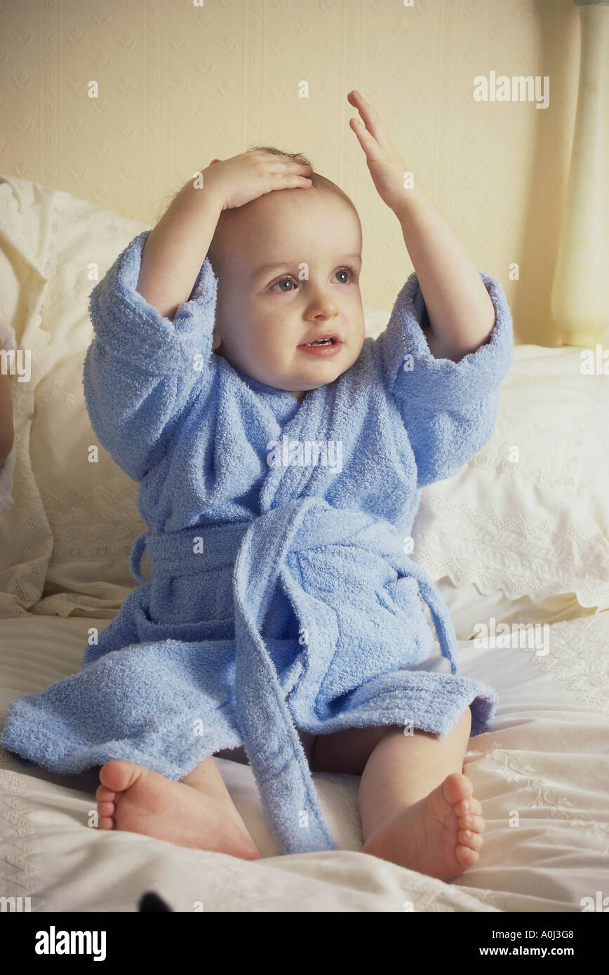Baby Boy Wearing Bathrobe Sitting High Resolution Stock Photography And Images Alamy