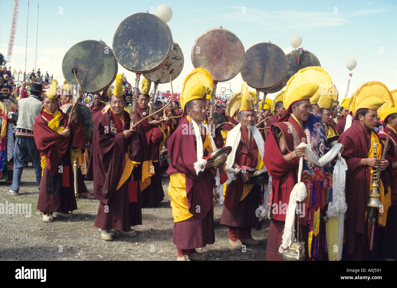 Parade Of Bon Warrior Monks Playing Symbols At The Annual Naqu Stock