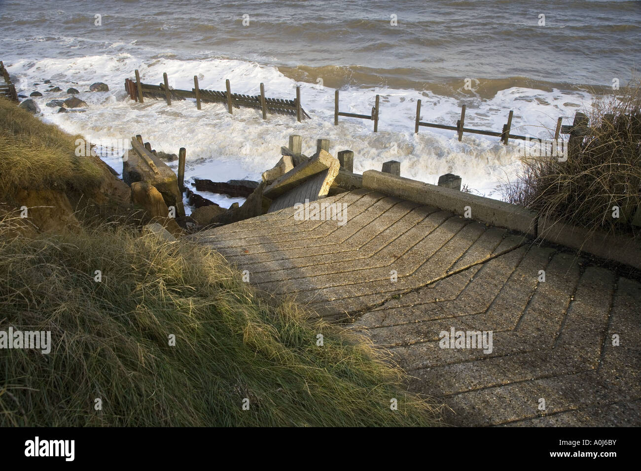 Coastal Erosian Happisburgh Norfolk UK November - Stock Image