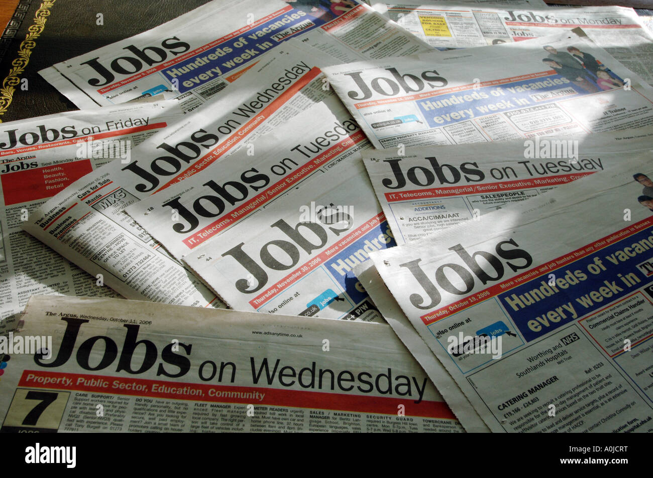 Job ads pages from newspapers - Stock Image